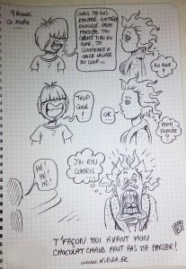 Hey! Nouveau strip réalisé sans trucage, illustrant le dur labeur de la dessinatrice au foyer à côté de ses pompes dès le matin…